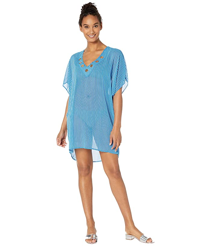 MICHAEL Michael Kors Stripe Lace-Up Tunic Cover-Up (Grecian Blue) Women