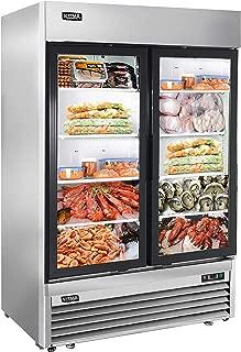 54'' 2 Glass Door Merchandiser Freezer - KITMA 49 Cu.Ft Stainless Steel Merchandiser Display Case with LED Lighting for Restaurant, 0°F - 8°F