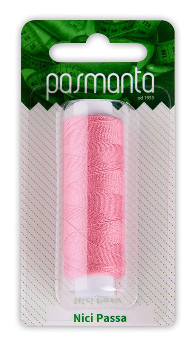 Strong Polyester Pro Sewing Thread, Many Colours Finest Spools, Universal All Purpose Hand and Machine Sewing, 200m - 220yd Coil Reel, by Pasmanta Made in Europe Since 1953 (5877 - Dark Pink)