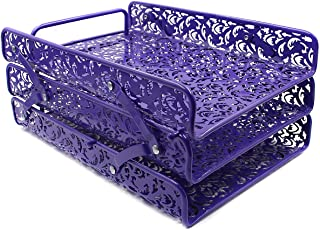 EasyPAG 3 Tier Desk Tray Carved Hollow Flower Pattern Design Triple Letter Tray,Purple