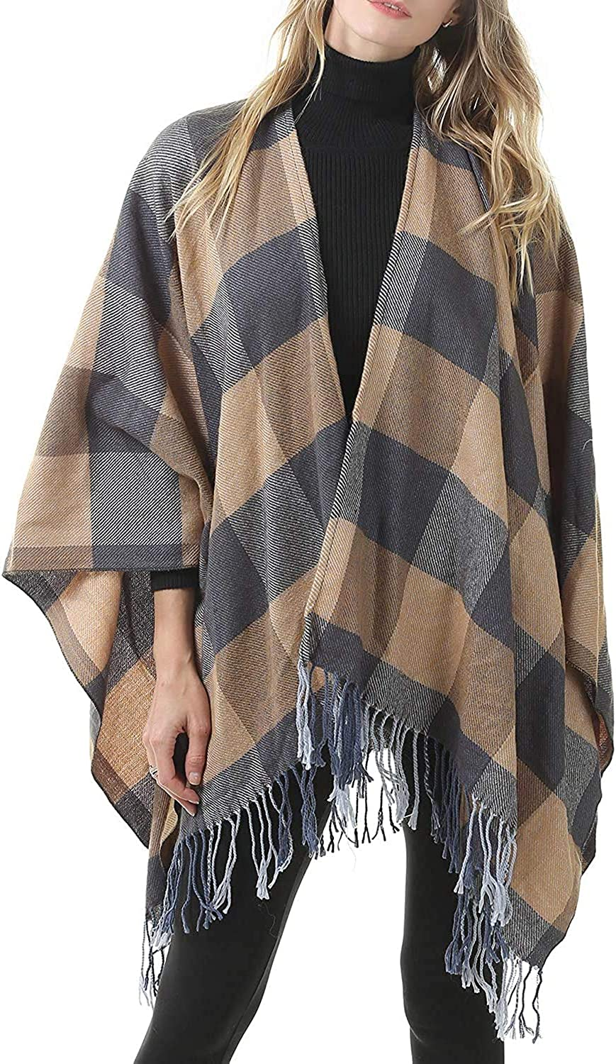 Men'S and Women'S Top Necks Blanket Soft Scarf MKLP Tassel Scarf Winter Ladies Scarf Large Warm Shawl Plaid Scarf Large Shawl Keep Warm and Prevent Cold Shawl