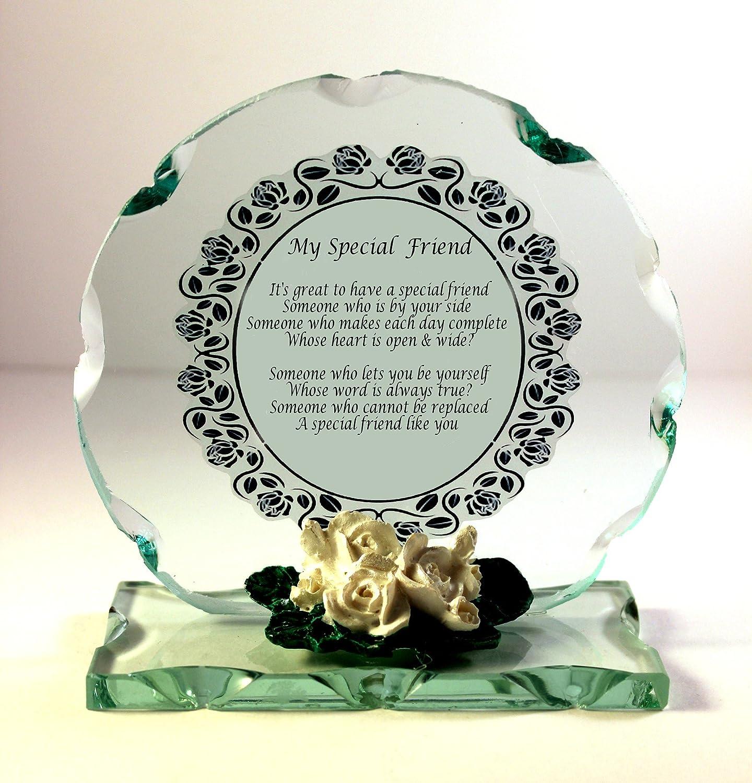 Special Friend Gedicht Nachricht Kristall Glas Geschenk für jeden Anlass, besser als eine Karte, auch Ihre ein Geschenk macht. B01N8XAGI3 | Merkwürdige Form