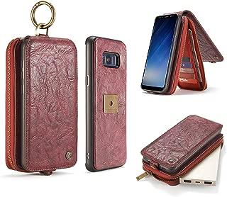 CaseMe Galaxy S8 Plus Wallet Case with Detachable TPU Back Case, Fibonacci Luxury Series, Vegan Leather, RFID Protection, Original Package-Red