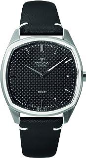 クヌートガッド Knut Gadd 腕時計 DECAGON メンズ 男性用 スチールケース ブラックダイヤル ブラックレザーベルト 3年保証