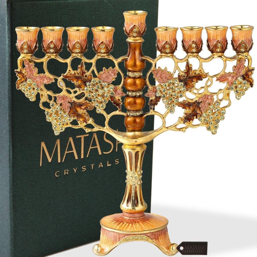 Matashi MTMNR575 7.25 Inch Tall Hand Painted Enamel Menorah, Grape Vine