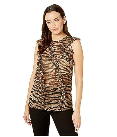 MICHAEL Michael Kors Glam Bengal Ruffle Top (Dark Camel) Women