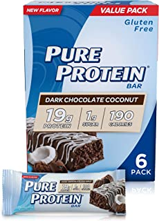 Pure Protein Bars, High Protein, Nutritious Snacks to Support Energy, Low Sugar, Gluten Free, Dark Chocolate Coconut, 1.76...