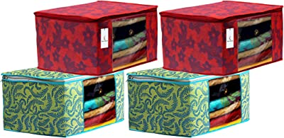 Kuber Industries Metalic Printed 4 Piece Non Woven Fabric Saree Cover Set with Transparent Window, Extra Large, Green & Red -CTKTC040837