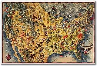 Antiguos Maps Birds Eye View MAP of The USA & Mexico by Miguel Covarrubias Circa 1942 - Measures 24