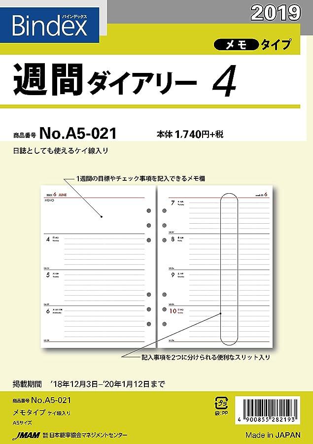 男記憶に残る多様な能率 バインデックス 手帳 リフィル 2019年 ウィークリー メモタイプ 罫線入リ A5-021 (2019年 1月始まり)