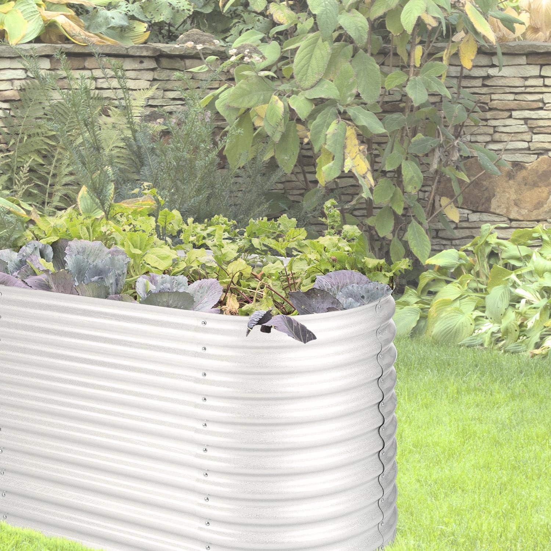 160 x 80 x 80 cm Kr/äuter und Gem/üse Hochbeet beige Stahl-Wellblech Gartenbeet angenehme Arbeitsh/öhe Gem/üsebeet BxHxT schnelle Montage blumfeldt High Grow f/ür Blumen