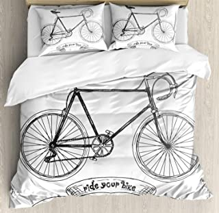 Ambesonne Bicycle Duvet Cover Set Queen Size, Ride Your Bike Lettering with Nostalgic Mountain Bike Hand Drawn Sketchy, Decorative 3 Piece Bedding Set with 2 Pillow Shams, Charcoal Grey White
