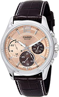 Casio Men's Quartz Watch, Analog Display and Leather Strap