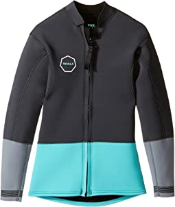 VISSLA Kids - Front Zip Jacket 2mm Super Stretch Neoprene Rashguard (Big Kids)