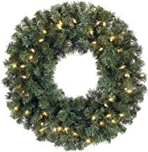 30 Inch Battery Operated Cordless Pre-lit Christmas Pine Wreath with 50 LED Clear Lights and Timer