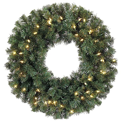 30 Inch Battery Operated Cordless Pre-lit Christmas Pine Wreath with 50 LED  Clear Lights - Christmas Wreath Lights: Amazon.com