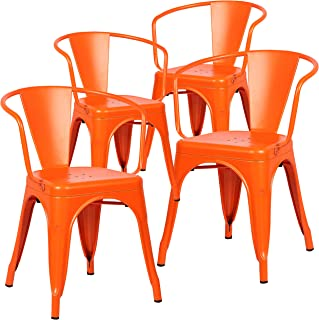 Poly and Bark Trattoria Modern Mid-Century Dining Kitchen Metal Side Arm Chair in Orange (Set of 4)