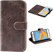 Mulbess HTC 10 Protective Cover, Magnetic Closure RFID Blocking Luxury Flip Folio Leather Wallet Phone Case with Card Slots and Kickstand for HTC 10, Coffee Brown