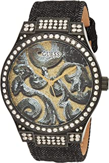 Guess Baroque Womens Analog Quartz Watch with Synthetic Leather Bracelet W0844L1