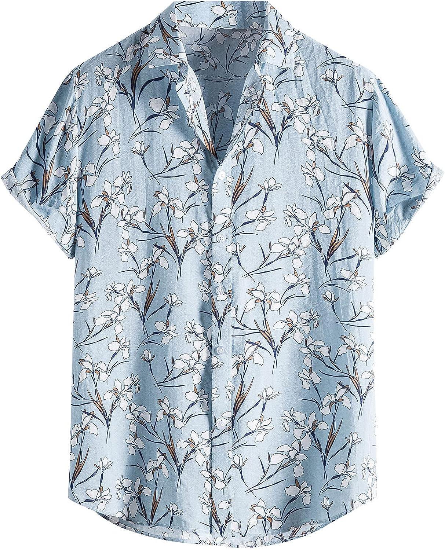 Mens Casual Hawaiian Shirt Leaf Print Short Sleeve Button Up Vintage Summer Beach Vacation Top Blouse