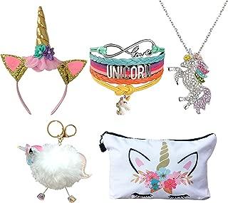 5 Piece Unicorn Gift Set - Unicorn Makeup Bag/Unicorn Bracelet/Unicorn Necklace/Unicorn Keychain/Unicorn Headband (White)