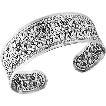 AeraVida Blossom Daisy Vine Floral Thai Yao Hill Tribe Fine Silver Cuff Bracelet