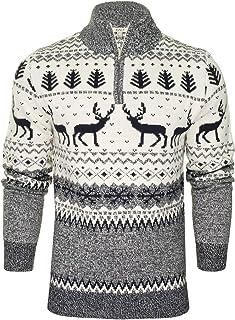 Xact Mens 1/4 Zip Reindeer Xmas/Christmas Jumper