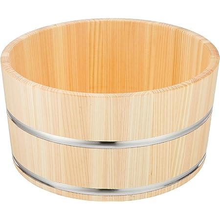 ダイワ産業 桶 風呂桶 湯桶 木製 ひのき 防カビ 撥水加工 日本製 ステンレスタガ 直径22.5×高さ11.5cm YS-4