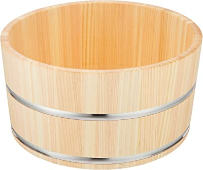 ダイワ産業 風呂桶 湯桶 木製 ひのき ステンレスタガ Φ22.5×11.5cm YS-4
