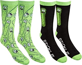 Hyp Rick and Morty Pickle Rick Pattern Men's Crew Socks 2 Pair Pack Shoe Size 6-12