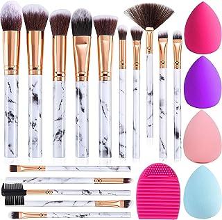 برس های آرایشی DUAIU 15PCs Marble Makeup Brush Set Premium Synthetic Kabuki Powder Blush Contour Foundation Concealer Eyeshadow Brushs with Makeup Sponge and Cleaner Brush Egg