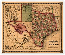 TEXAS and Southwest United States Schonberg's MAP circa 1866 - measures 20