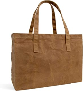 Hawkins Hill Reusable Grocery Bag | Waxed-Canvas | Shopping Tote | Large | Heavy-Duty | Foldable | Comfortable Length Handles | Coffee