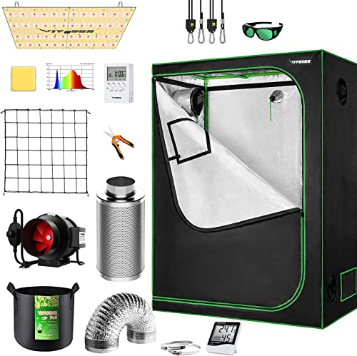 """popular VIVOSUN 48""""x24""""x60"""" Mylar Hydroponic Grow Tent Complete Kit with 4 Inch Inline Fan Package, VS2000 LED Grow Light, Temperature Humidity popular Monitor, high quality Netting, Grow Bags, Pruning Shear and Timer online"""