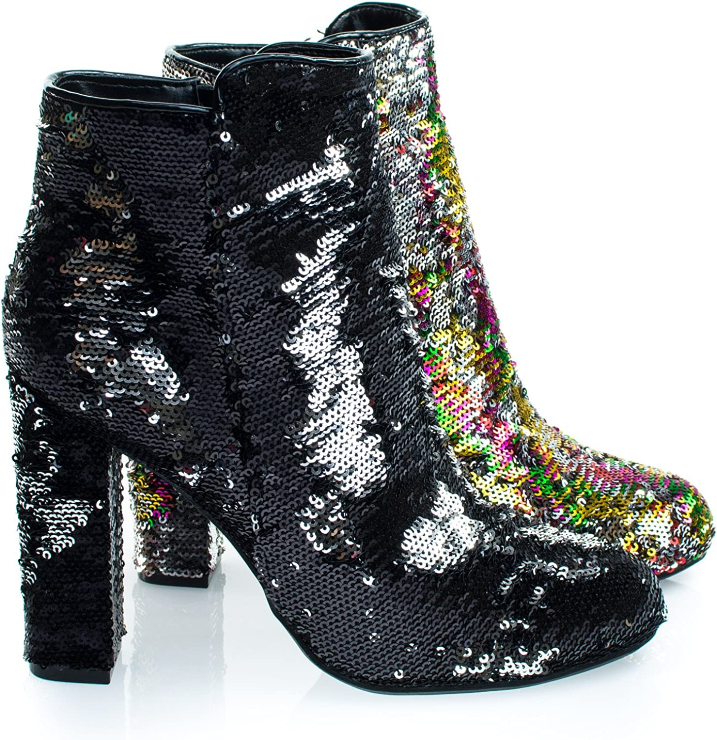 Reversible Sequins Block Heel Ankle Bootie