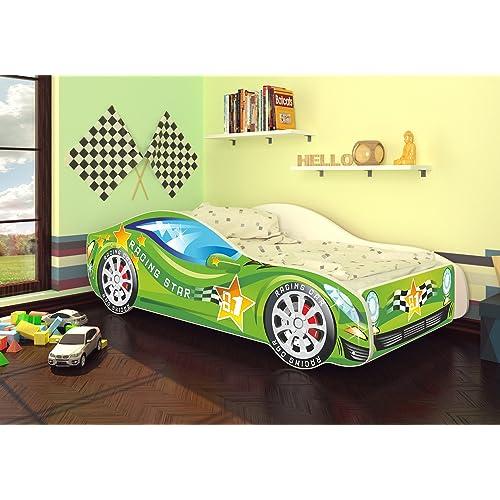 Kinder Bett mit Matratze Rennauto Bett Grün für Kinder Kissen 140x70cm