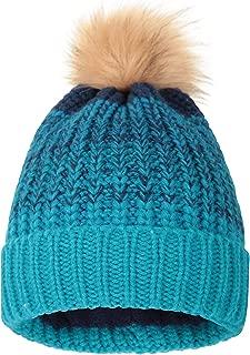 Multicolor Womens Pom Beanie - Warm Ladies Cap