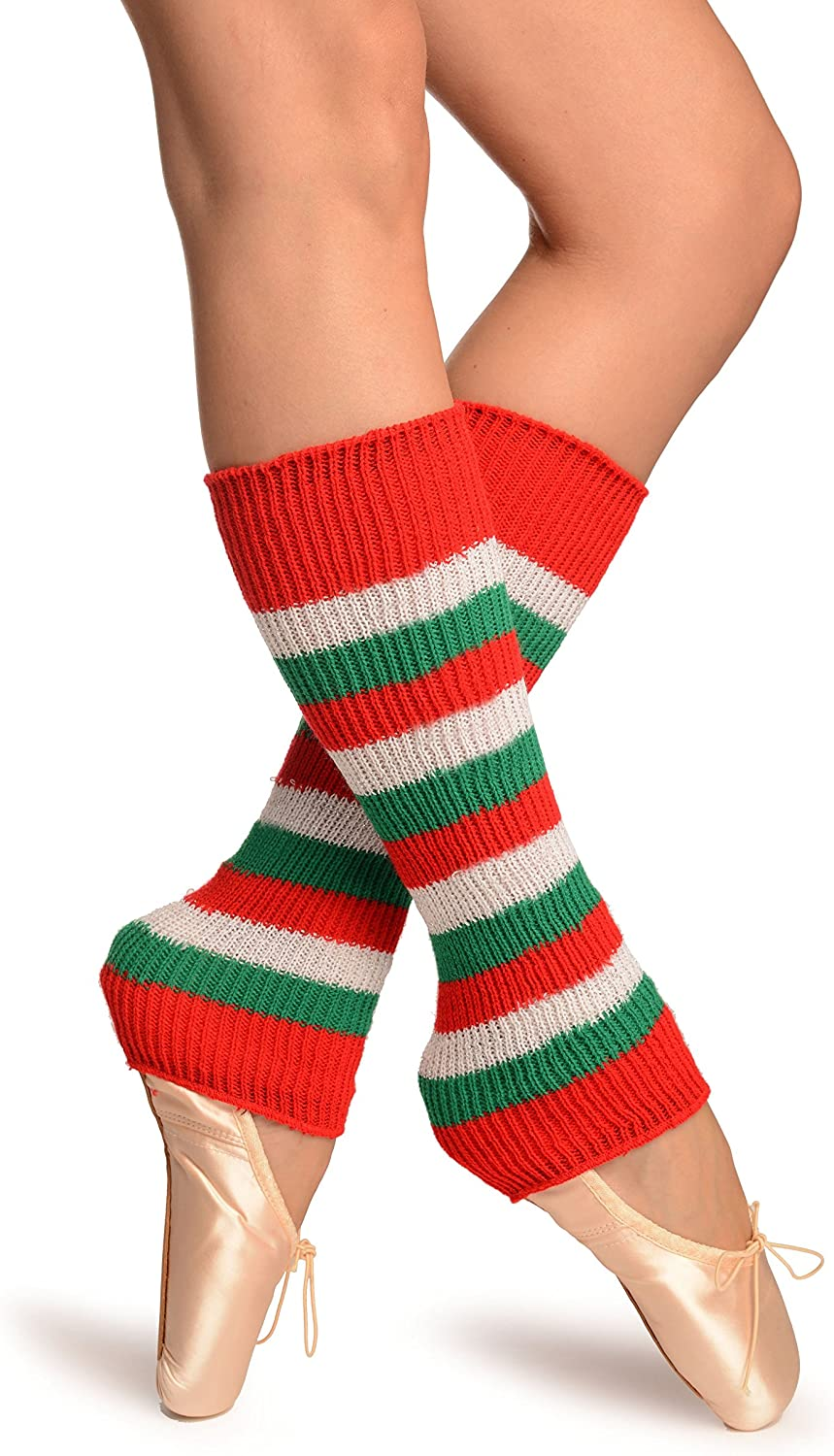 Green, Red And Lurex White Stripes Dance/Ballet Leg/Arm Warmers - Multicoloured Striped Leg Warmers