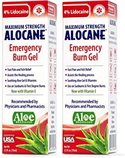 Alocane® Emergency Burn Gel, 4% Lidocaine Max Strength Fast Pain Itch Relief for Minor Burns, Sunburn, Kitchen, Radiation,...