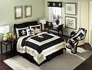 King Quilt - FDL Scrolls/Tan by Donna Sharp - Contemporary Quilt with Shape Pattern - Machine Washable
