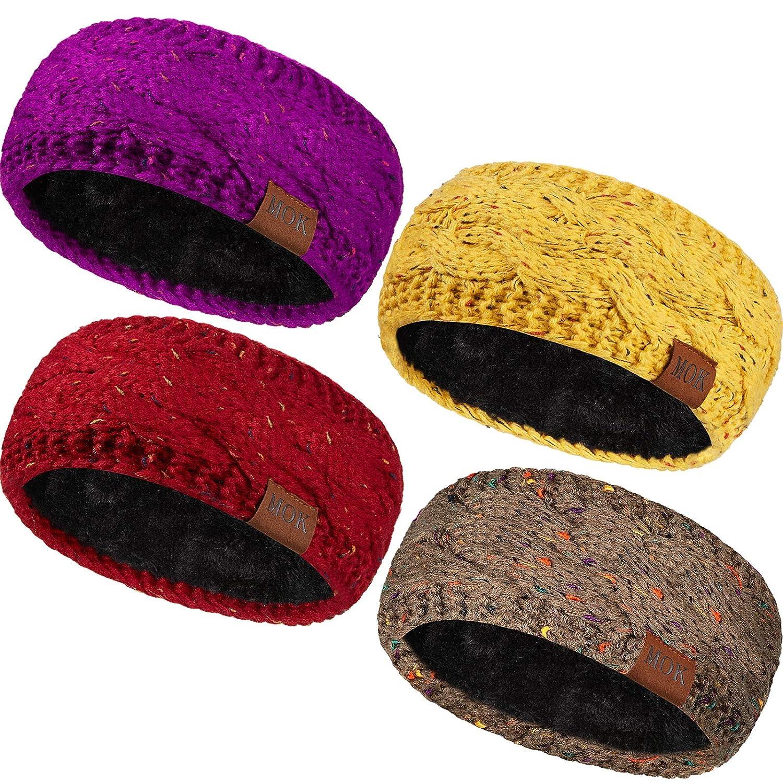 4 Pieces Women Warm Fuzzy Fleece Lined Headband Winter Knit Ear Warmer Headwrap Confetti Thick Cable Headband (Confetti Multi Set)