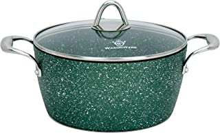 WaxonWare 4.5 Quart Stone Nonstick Dutch Oven Casserole Stockpot, Anti-Warp Non Toxic APEO PFOA Free Nonstick Cookware, Induction Compatible, Dishwasher & Oven Safe Nonstick Pot (EMERALD Series)