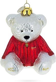 BestPysanky Teddy Bear in Warm Sweater Glass Christmas Ornament