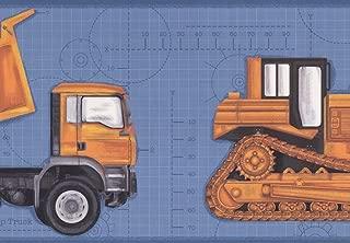 Heavy Yellow Truck Tractor Bulldozer Wallpaper Border Kids Design, Roll 15' x 9