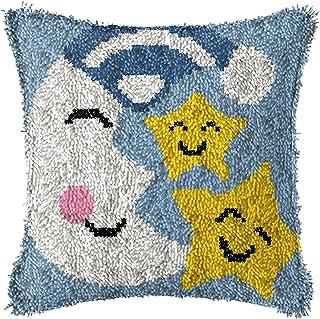 Crochet de loquet Kits de Bricolage Couvercle d'oreiller avec Motif étoile de Lune Sofa imprimé Canapé Coussin Coussin Cou...