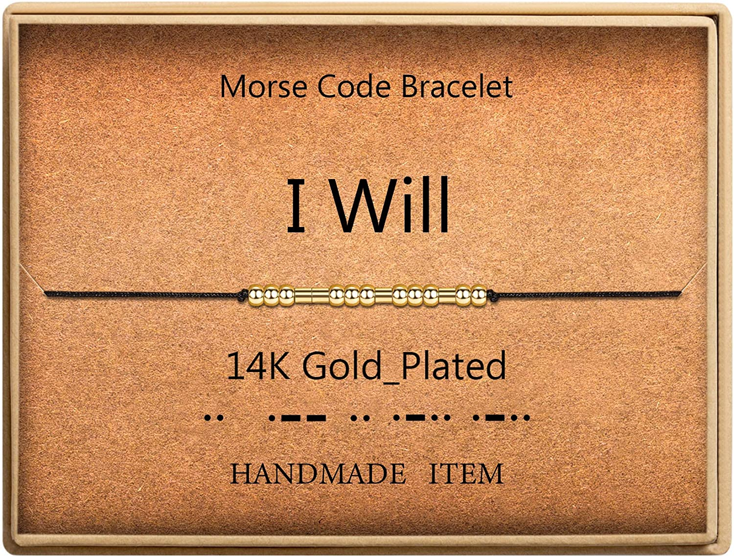 I Will Morse Code Bracelet Max 52% OFF 14k Gold Fr Silk Plated Beads on Cord Al sold out.