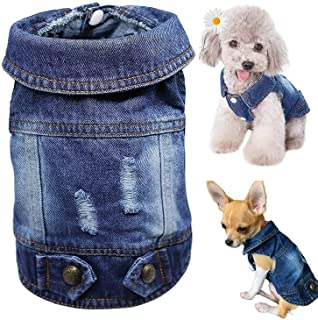 Dog Jean Jacket for Small Medium Dogs Cats, Blue Denim Vests Costume Outfits, Cute Pet Clothes Puppy Dog Shirt, Holes Desi...