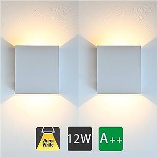2 Pcs Lámpara De Pared Interior 12W Moderna Apliques De Pared 3000K Blanco Cálido Perfecto para Corredor Oficina Salon Dormitorio Sala Pasillo (Blanco)