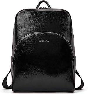 BOSTANTEN Damen Leder Rucksack Schulrucksack 13 Zoll Laptoprucksack Tagesrucksack Casual Backpacks Daypack Schwarz