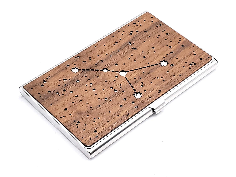 Wood Business Super sale Card Holder Max 73% OFF Cancer Zodiac Case sign